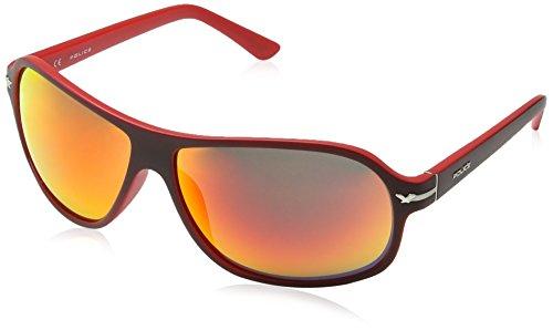 Police Herren S1959 Moxie 2 Sport Sonnenbrille, MATT BORDEAUX & RED FRAME/RED MIRROR LENS