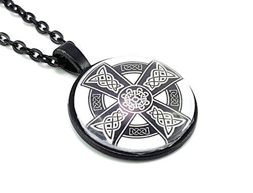 Stechschmuck Halskette mit Anhänger Amulett Medaillon Talisman Keltischer Knoten Eisernes Kreuz Schwarz Weiß Keltisch Nordisch Thor Odin Valhalla Damen 27mm Nickelfrei