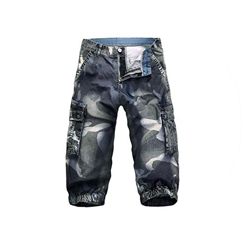 Camouflage Cotton Men Fashion Cargo Shorts Military Masculina Loose Multi Pocket Summer Casual Jeans Shorts,Camouflage,34 (Forever 21 Jogger)