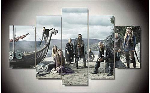 HNFSCLUB der Kunstdruck5 stücke HD TV Poster Leinwanddruck Dekorative Bild Viking Modern Home Wohnzimmer Wandkunst Dekoration Malerei-S