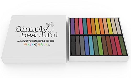 farbige wimperntusche Haarkreide-Set aus weicher Pastellkreide - auswaschbar und ungiftig - ideal für Kostüm, Fasching, Partys, Festivals - 24 Farben