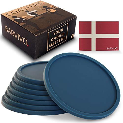 BARVIVO Set di 8 Blu Sottobicchieri Universali Antiscivolo. Protezione per Qualsiasi Tipo di Tavolo o tavolino in Legno, Marmo, Vetro da Interno o Esterno. Perfetti per Tutti i Tipi di Bicchiere