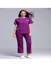 OPPP Ropa médica Mujer Enfermera médica Matorrales Verano Manga Corta Cuello Abierto Cuello Redondo Uniforme del