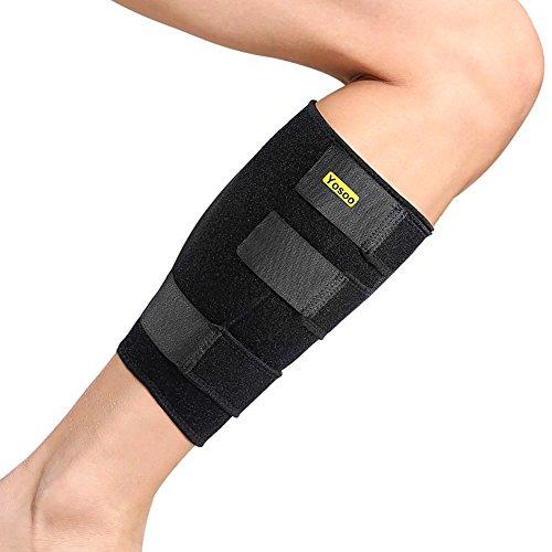 Yosoo - Protección ajustable de neopreno para gemelo, unisex, para dolores musculares y tensiones, color negro