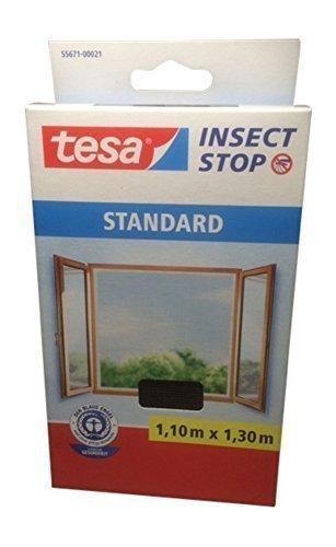 tesa Fliegengitter für Fenster, Standard Qualität (1,10m x 1,30m / 4er Spar-Pack, anthrazit)