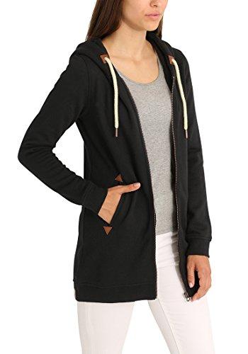 DESIRES Vicky Straight-Zip Damen Lange Sweatjacke Kapuzenjacke Sweatshirtjacke Mit Kapuze Und Fleece-Innenseite, Größe:S, Farbe:Black (9000) - 4