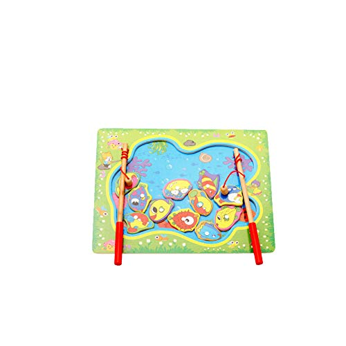 Beito 1Set Holz Angelspiel Spielzeug Set See-Form-hölzernes Magnet Puzzle-Board mit Kinderspiel Magnetic Angelrute Pole Lernen Bildung Spielzeug für Junge Mädchen Kleinkinder