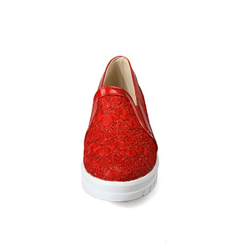 balamasa Femme Round-Toe antidérapante Polyester pumps-shoes red