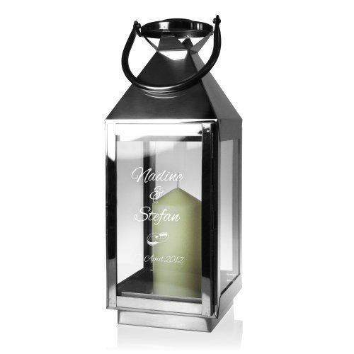 Edelstahl Laterne mit Gravur zur Hochzeit - Elegant - Personalisiert mit Namen und Datum - Motiv Ringe - romantisches Windlicht - Gartenlicht - Geschenk-Idee zur Hochzeit - Hochzeitsgeschenk