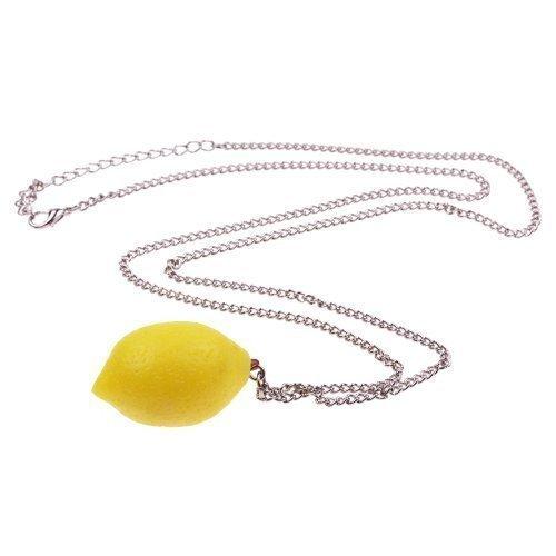 Zitronen Halskette - ca. 70cm lange Kette - Obst Anhänger Zitrone Gemüse Früchte Lemon