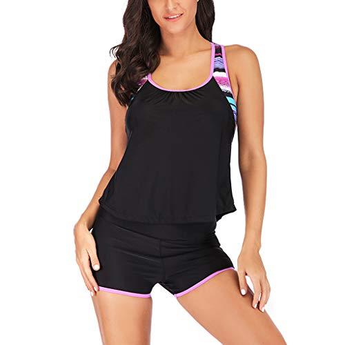 1652c5bb33ae Rawdah-- Signore Dente di Sega Bikini Costume da Bagno Donna Due Pezzi  Costume Intero Taglie Forti- Costumi da Bagno Tankini Top Stampa con  Pantaloncini