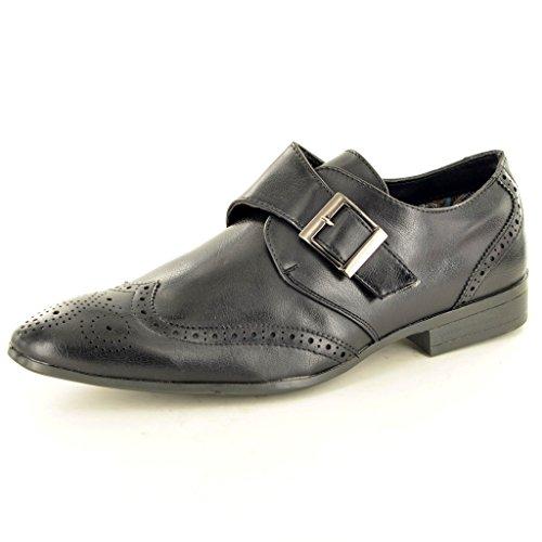 Herren Casual Formale Lapsus Mönch Strap Brogue Fashion-Schuhe Schwarz