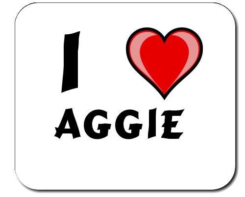 Mauspad mit Aufschrift Ich liebe Aggie (Vorname/Zuname/Spitzname) -