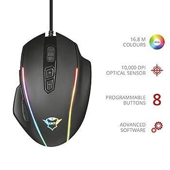 Trust GXT 165 Celox Mouse Gaming RGB di Alta Precisione con 8 Pulsanti Programmabili e Peso Regolabile, Nero