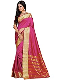 Craftsvilla Women's Silk Blend Zari Border Saree with Blouse Piece(MCRAF97516702110_Pink_Free Size)