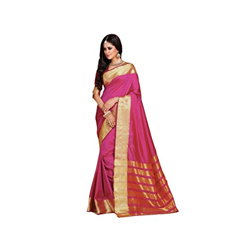 95e85e1f82a79c Craftsvilla Women s Silk Blend Zari Border Designer Pink Saree With Blouse  Piece
