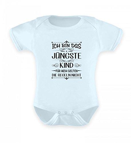 Shirtee ICH Bin DAS JÜNGSTE Kind FÜR Mich GELTEN DIE Regeln Nicht - Baby Body -0-6 Monate-Baby Blau - Kind Jüngstes