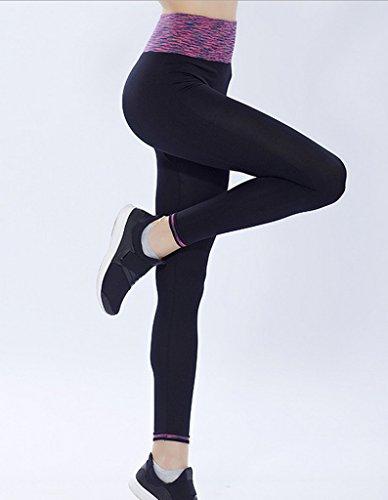Bigood Femme Élastique Haute Taille Slim Pantalon Sport Nylon Course Yoga Legging Cramoisi