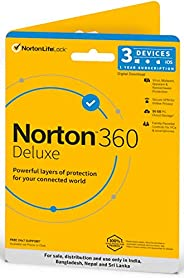Norton 360 Deluxe | 3 Users 1 Year | Total Security for PC, Mac, Android or iOS | Physical Delivery | No CD