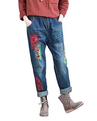 SaiDeng Donna Ricamo Boyfriend Elastico In Vita Drawstring Distressed Jeans L