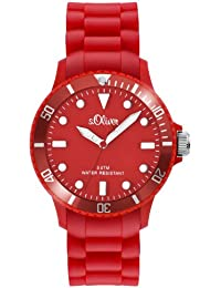 s.Oliver Unisex-Armbanduhr Medium Size Analog Silikon rot SO-2423-PQ