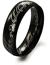 Yellow Chimes Lord of The Rings Black 100% Stainless Steel Ring for Boys and Men