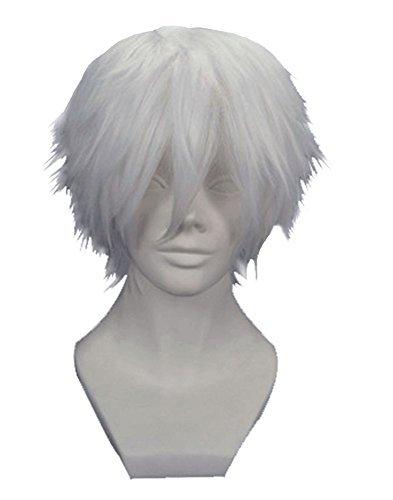 Anogol Tokyo Ghoul Tokyo Guru Kaneki Ken Cosplay Wig Silver White Wigs by Anogol