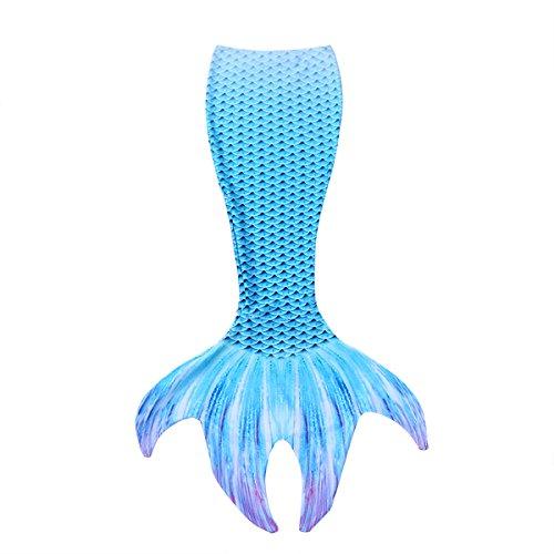 Tiaobug Meerjungfrauenflosse Meerjungfrauenschwanz zum Schwimmen für Damen Mädchen Schwimmen Fotoshooting Kostüm Badeanzug Bademode gr.S-XL Blau XL(Taille 68-94cm)