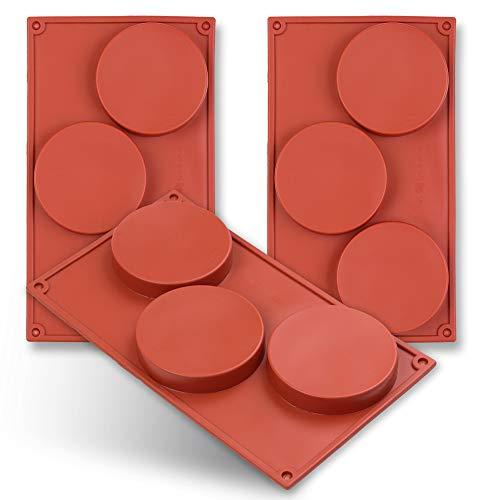 Homedge stampo in silicone a forma di disco a 3 cavità, torta a disco da 3 pacchi, gustard, sottobicchiere in resina, crostata, stampi per sapone fatti a mano