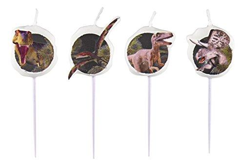 Mini Velas de figura Dinosaurio Ataque 4 Piezas / Aprox. 60 mm