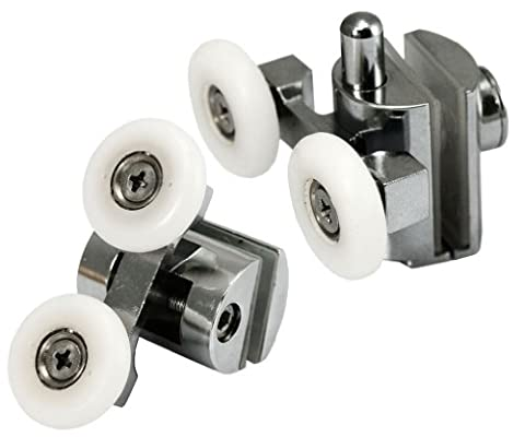 Micro Trader 4X Zinc Alloy Top& Bottom Shower Door Twin Wheels Rollers Runner...