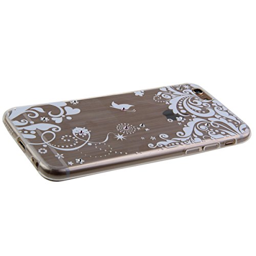 iPhone 6S plus Case,iPhone 6 plus Cover, Felfy Apple iPhone 6/6S plus 5.5 inch Rosa weiße Blume Muster Intarsien Shiny Funkeln Diamant Design Ultra Dünne weiche TPU Gel Silikon Transparent Clear Cryst Herz Liebe Blume