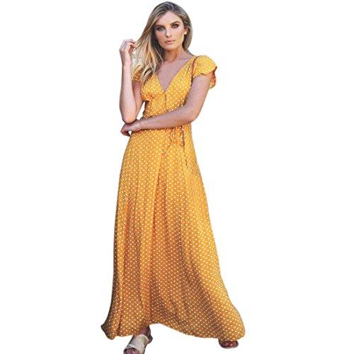 OYSOHE Damen Vintage Kleid, Neueste Frauen Sommer Boho Lange Abendgesellschaft Cocktailkleid Strandkleid Sommerkleid (S, Gelb) (Damen Strapless Cocktail Kleider)