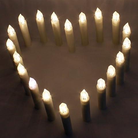 aLLreLi Velas LED (20 unidades) velas de hadas luces de velas sin llama batería Artificial Operated Velas - Desarrollado inalámbricos con control remoto - para la cena de la iglesia de la boda la fiesta de cumpleaños del árbol de Navidad de la Navidad del templo Beach Hoteles Grass