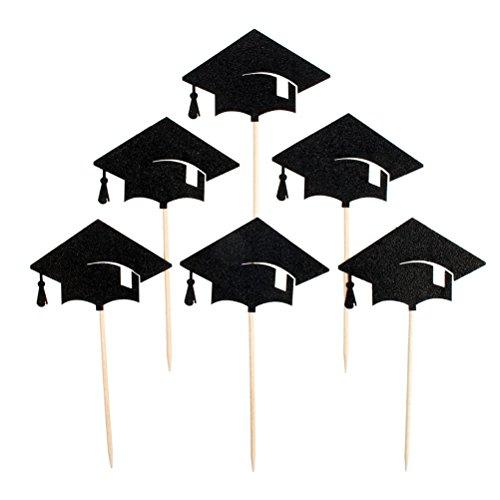 (Tinksky 6pcs Graduation Cap Cupcake Toppers Kuchendekoration für Graduation Party Favors)
