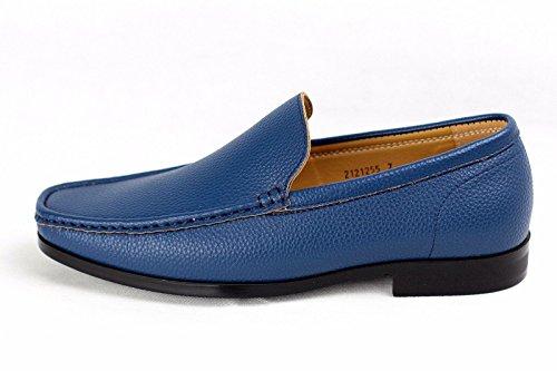 Mens Boot Freizeit Slip-on Deckschuhe Elegante Leder Office Designer Fahren Mokassins Blau