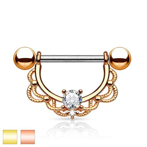 Coolbodyart Femme Piercing nichon Piercing sein en acier inox Acier chirurgical 316L en or , or rose avec zircone et filigran Bordure aussi en kit lot de 2