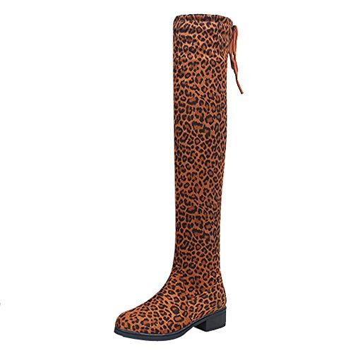Maus Kostüm Selbstgemacht - MYMYG Damen Chelsea Boots Overknees Frauen Wildleder Leopardenmuster Runde Spitze hohe Stiefel Overknee-Schuhe Stiefel Langschaft High Boots Low Stack Ferse Freizeitschuhe