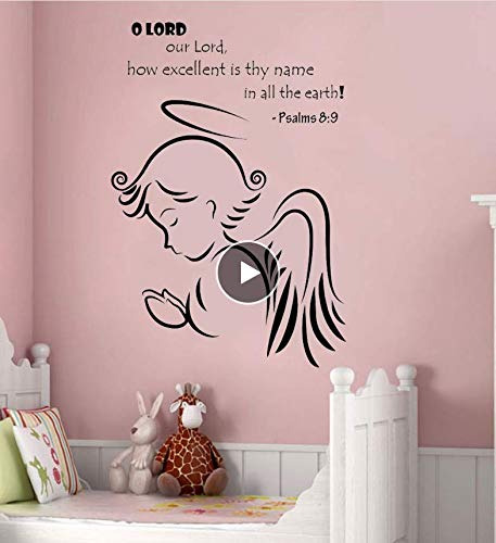 Qthxqa Psalms 8: 9 Zitat Wandaufkleber Für Kinderzimmer Engelsflügel Aufkleber Mädchen Kinderzimmer Wandtattoo Vinyl Aufkleber Kunst Romantische Wandbilder 56 * 82 Cm