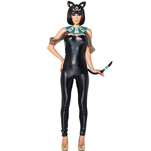 Life Girl Sexy Lackleder Katzenmädchen Ägyptische Katze Göttin Elf Anzug ()