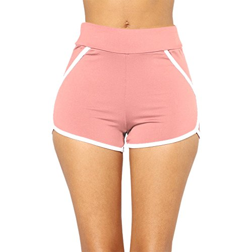 BURFLY Frauen Shorts Sommer Hosen Frauen Sport Shorts Fitness Workout Bund Yoga Laufhose Wild Beach Hosen Sexy Hot Pants (M, Pink) (Pants Hot Snow Pink)