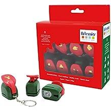 Artemio–Kit de 8mini Punches de Navidad, plástico, multicolor