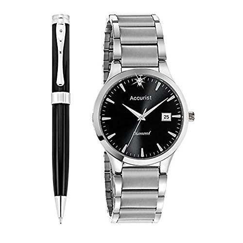 Accurist Men's Quartz Watch with Black Dial Analogue Display and Silver Stainless Steel Bracelet MB1066B.01