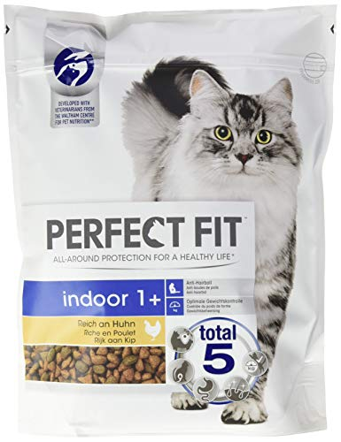PERFECT FIT Katzenfutter Trockenfutter Indoor für Hauskatzen Adult 1+ Reich an Huhn, 4500 g