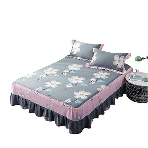 Fashion·life set biancheria da letto 3, copriletto arruffato, copriletto in cotone principessa doppio cotone antiscivolo copriletto in cotone con volant increspato, lenzuola in cotone