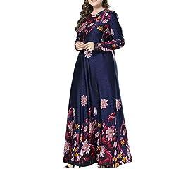 af599ff31e01e zhxinashu Women Muslim Floral Maxi Dress - Lady Plus Size Lon .