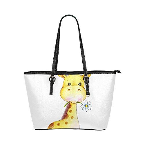 Cooles Giraffe-Baby scherzt Tier-großes weiches Leder-tragbarer Handgriff-Handhandbeutel-Taschen-kausale Handtaschen mit Reißverschluss-Schulter-Einkaufen-Geldbeutel-Gepäck-Organisator für Dame Girls (Hobo Giraffe)