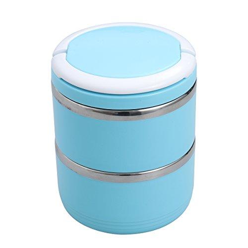 UKCOCO Hund Katze Travel Bowl Edelstahl Spill Proof Doppelschichten Pet Wasser Frischhaltedose mit Griff für Pet Outdoor Reisen Fütterung 1100 ML (Blau)