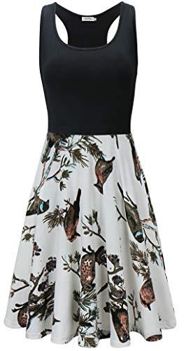 KorMei Damen Ärmelloses Beiläufiges Strandkleid Sommerkleid Tank Kleid Ausgestelltes Trägerkleid Weiß&Vogel-D40 L