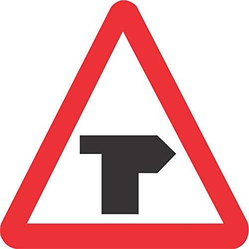INDIGOS UG - Aufkleber - Sicherheit - Warnung - T-junction with priority over vehicles from the left. Road safety sign 60x60cm - Sticker für Büro, Firma, Schule, Hotel, Werkschutz
